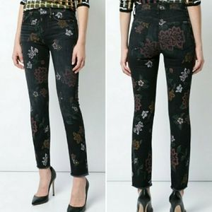 7 For All Mankind Floral Raw Hem Straight Jeans 26